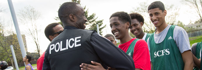Community Development - officer engaging with youth in Ottawa.