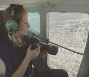 Photographing from the police air unit