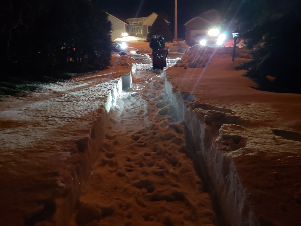 Officers shoveled and used a snow blower to clear driveway of elderly man