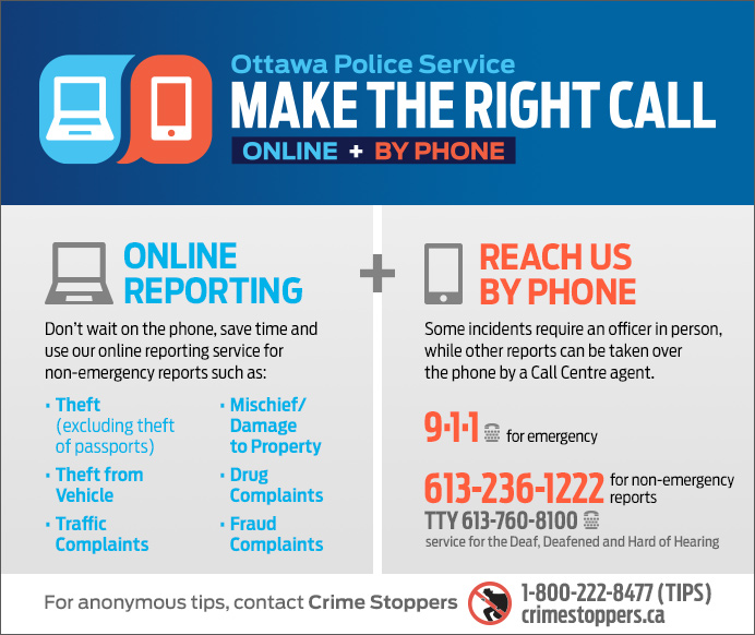 Infographic identifying three ways to contact police: 911 for emergencies, 613-236-1222 for non-emergencies and report non-emergencies online at ottawapolice.ca
