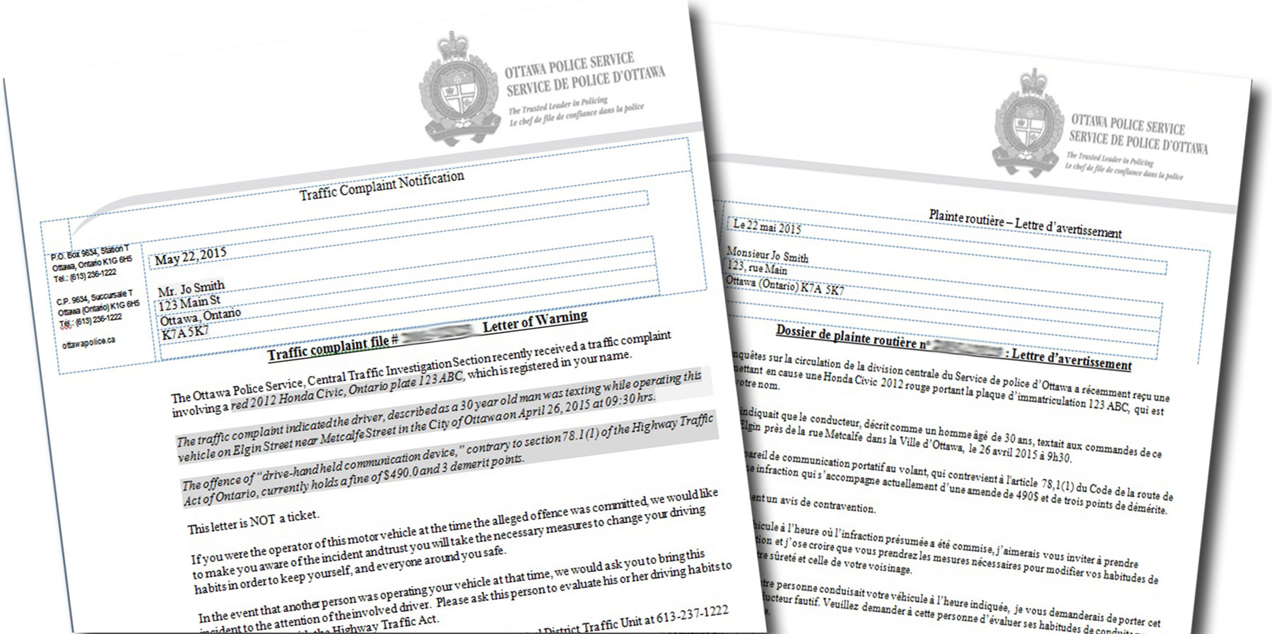 Traffic complaint letter ottawa police service if youve recently received a traffic complaint warning letter in the mail its because a vehicle registered to you was observed committing a traffic spiritdancerdesigns Gallery