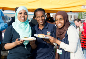Three young women at a Police Week event