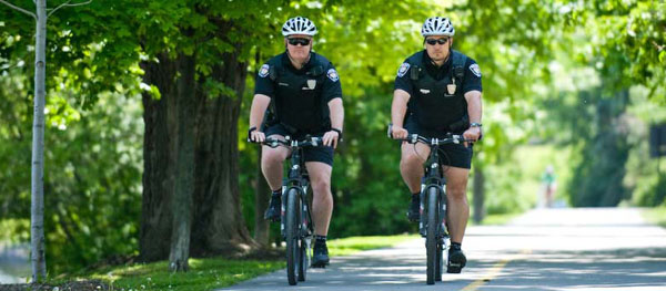 Police Officers on bike patrol.