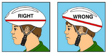 A boy wearing his helmet correctly (straight) and a boy wearing is helmet incorrectly (tilted).