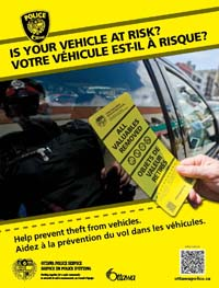 Poster with text: Is your car at risk?
