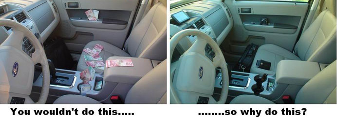 Two cars - one with spread visibly throughout the interior, the other with a GPS, wallet, cellphone and other valuables visible throughout.