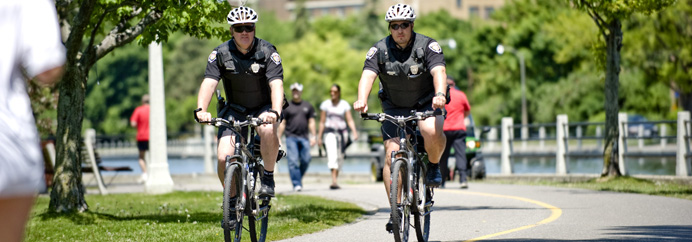 Two officers on bike patrol