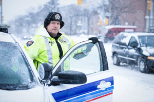Police Officer during winter