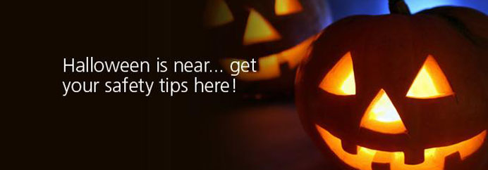 Pumpkins. With text: Halloween is near, get your safety tips here!